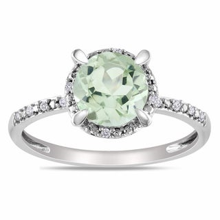 Miadora 10k White Gold Green Amethyst and Diamond Accent Ring (G-H, I2)