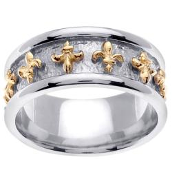 14k Two-tone Gold Men's Fleur de Lis Wedding Band