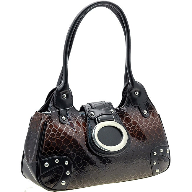 Dasein Leatherette Embossed Alligator Skin Shoulder Bag with Silvertone Hardware