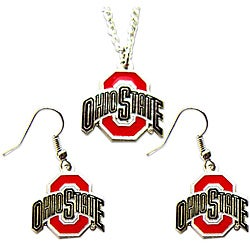 Aminco International Ohio State Buckyes Necklace and Dangle Earrings Set