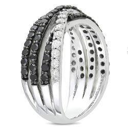 Sterling Silver 1ct TDW Black and White Diamond Ring (G-H, I2-I3)
