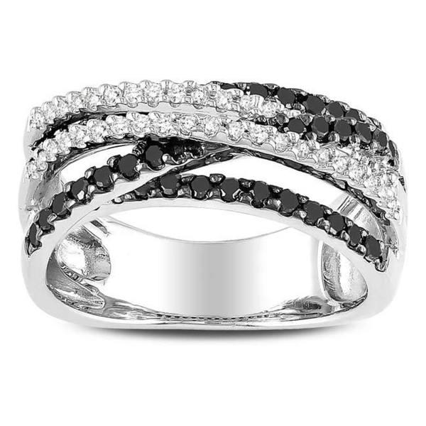 Miadora Sterling Silver 3/5ct TDW Black and White Diamond Ring (G-H, I2-I3)
