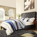 ETHAN HOME Sophie Dark Brown Vinyl Tufted King-size Platform Bed