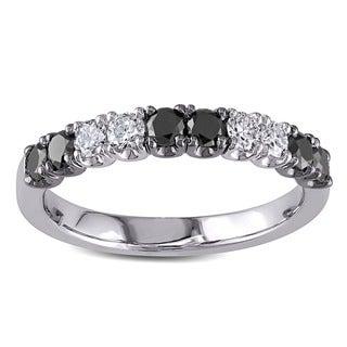 Miadora 18k White Gold 3/4ct TDW Black and White Diamond Anniversary Ring (H-I, SI1-SI2)