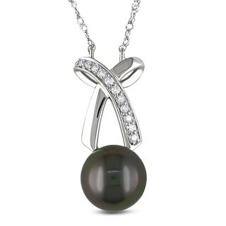 Miadora 14k White Gold 1/10ct TDW Diamond and Tahitian Black Pearl Necklace (8-8.5 mm)(G-H, I1-I2)