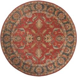 Hand-tufted Kiso Rust Traditional Border Wool Rug (6' Round)
