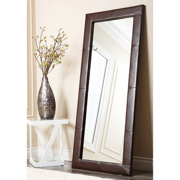 ABBYSON LIVING Delano Dark Brown Leather Floor Mirror