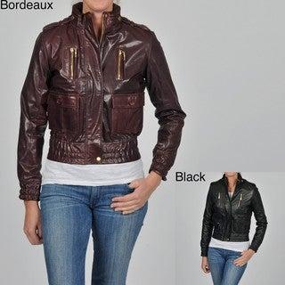 Knoles & Carter Women's Plus Size Leather Smocked Waist Cropped Jacket