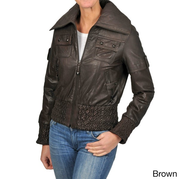 Knoles & Carter Women's Short Smocked Perforated Jacket