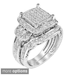 10K Gold or Sterling Silver 3/4ct TDW White Diamond Halo Ring (G-H, I1)