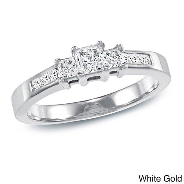 Auriya 14k Gold 1/2ct TDW Princess Diamond Engagement Ring (I-J, I1-I2)