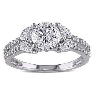 14k White Gold 1 1/2ct TDW IGL-certified Vintage Diamond Ring (G-H, I1-I2)