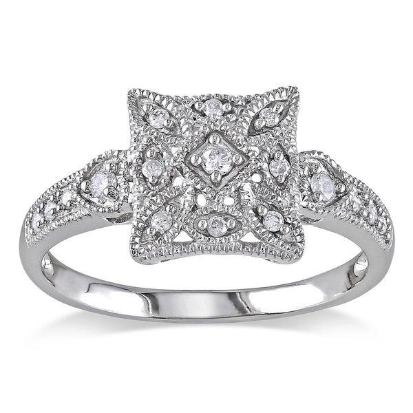 Miadora 10k White Gold 1/7ct TDW Diamond Art Deco Style Ring (G-H, I2-I3)