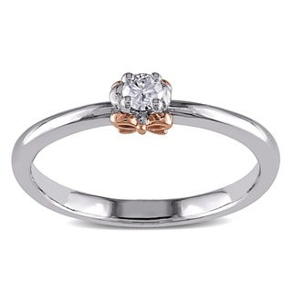 Haylee Jewels 14K Gold/ Silver Rose Accent Diamond Promise Ring (G-H, I2-I3)
