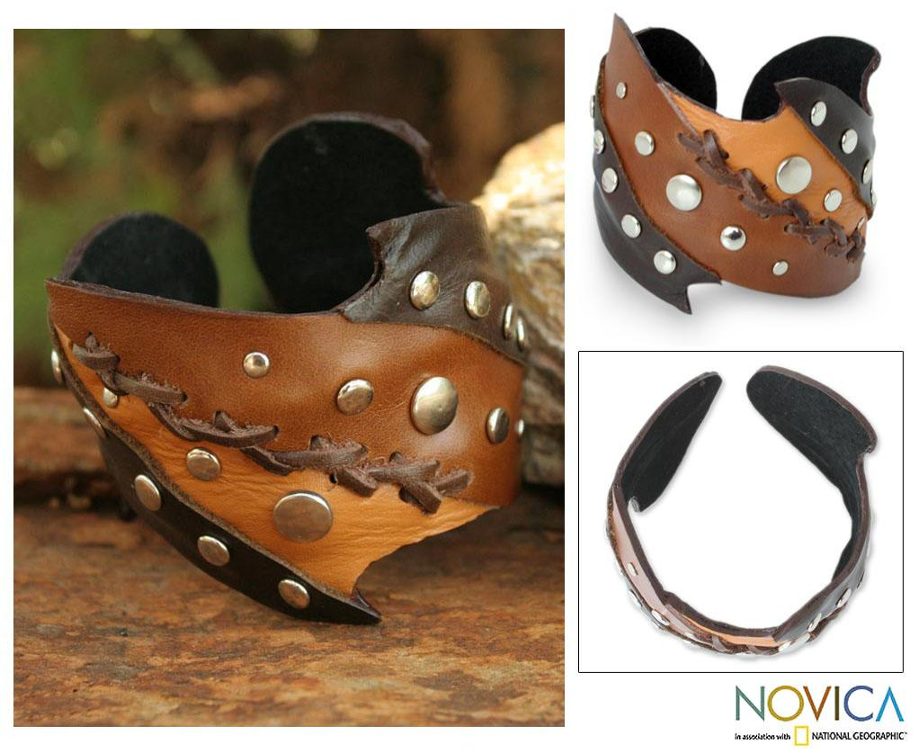 Handcrafted Leather 'Chiang Mai Honey' Cuff Bracelet (Thailand)