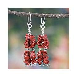 Sterling Silver 'Rejoice' Jasper Waterfall Earrings (India)