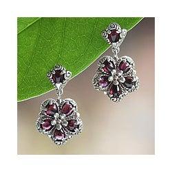 Sterling Silver 'Red Frangipani' Garnet Flower Earrings (Indonesia)