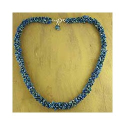 Sterling Silver 'Mermaid Song' Lapis Lazuli Beaded Necklace (India)