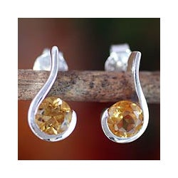 Sterling Silver 'Golden Droplet' Citrine Earrings (India)