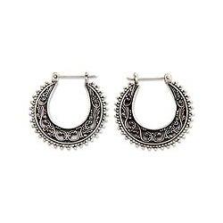 Sterling Silver 'Kuta Moon' Hoop Earrings (Indonesia)
