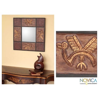 Leather 'Herons' Mirror (Peru)