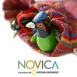 Set of 6 Ceramic 'Forest Birds' Ornaments (Guatemala)