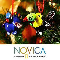 Set of 6 Ceramic 'Tropical Birds' Ornaments (Guatemala)