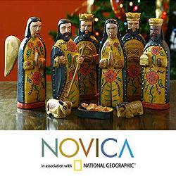 Set of 10 Pinewood 'Worship' Nativity Scene (Guatemala)
