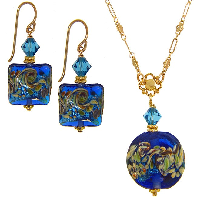 Misha Curtis Ocean Blue Hand-blown Art Glass Earring and Neckla