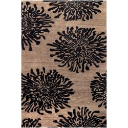 Hand-tufted Contemporary Black Amiens New Zealand Wool Abstract Rug ( 9' x 13' )