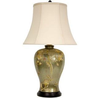 Glazed Birds and Flowers Porcelain Vase Lamp (China)