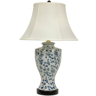 Blue and White Flower Vine Lamp with Off-white Fabric Shade (China)