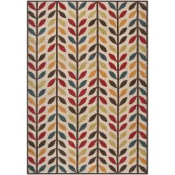 Meticulously Woven Contemporary Brown/Red Floral Frome Rug (5'3 x 7'6)