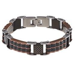 La Preciosa Rose Gold over Steel Black Link Bracelet