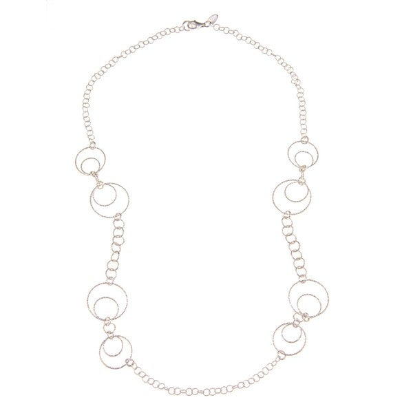 La Preciosa Sterling Silver D-C Multi-Sized Circle Link Necklace