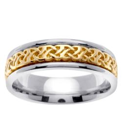 14k Two-tone Gold Celtic Woven Design Men's Wedding Band