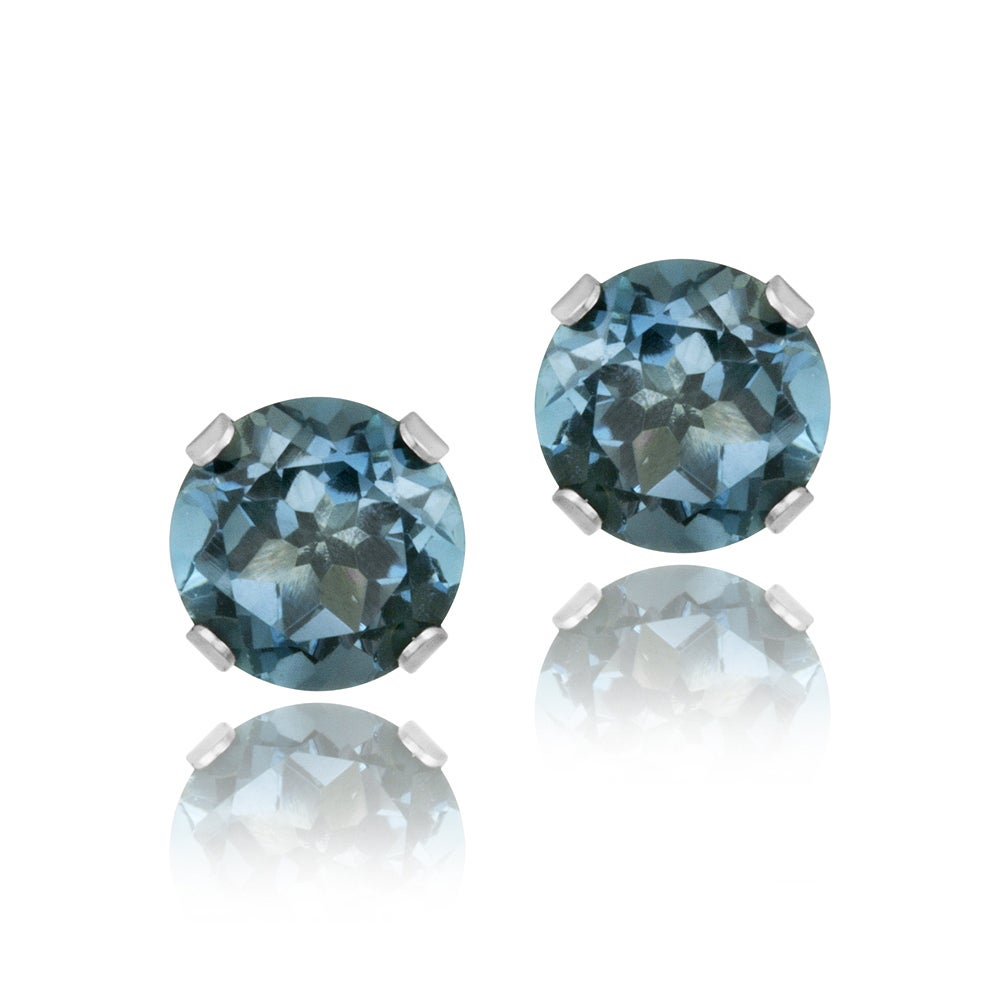 Glitzy Rocks Sterling Silver 2 1/10ct TGW London Blue Topaz 6-mm Stud Earrings