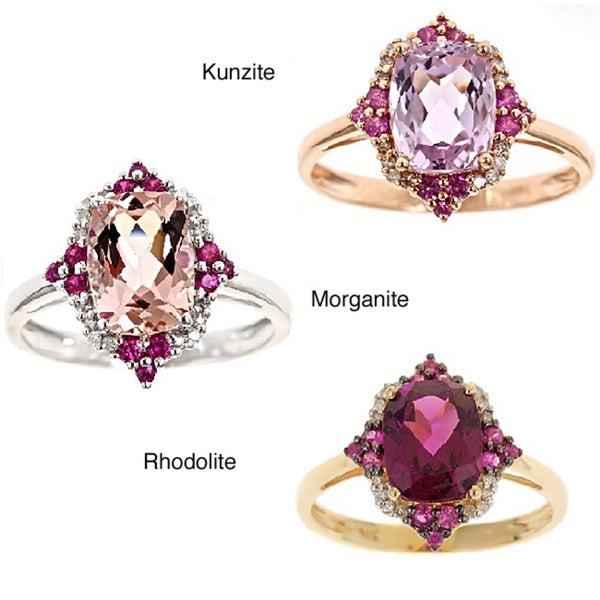 D'Yach 14k Yellow Gold Rhodolite, Ruby, Diamond Accent Ring