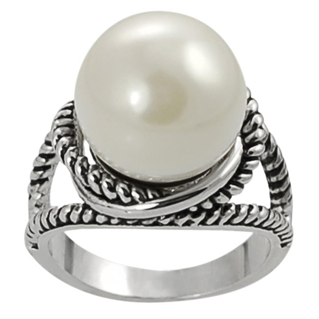 silvertone faux pearl twist ring overstock shopping