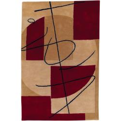 Hand-tufted Beige Contemporary Castleford New Zealand Wool Abstract Rug (9' x 13')