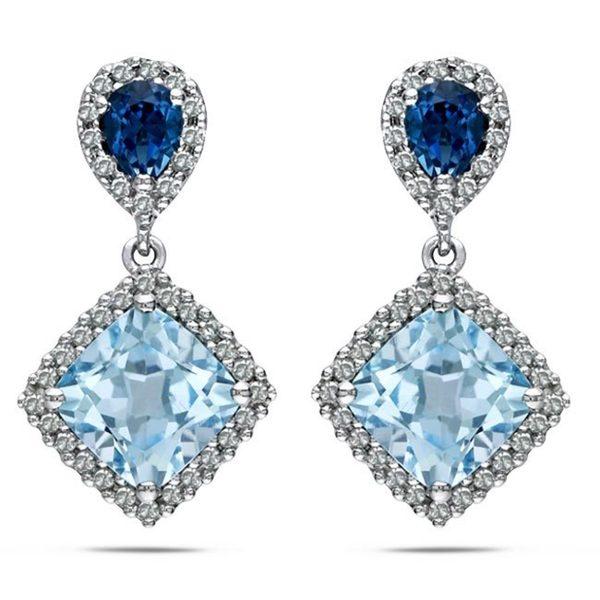 Miadora Sterling Silver 2 3/4ct TGW Sky Blue Topaz and 1/5ct TDW Diamond Earrings (G-H, I2-I3)