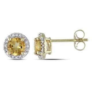 Miadora 10k Yellow Gold 7/8ct TGW Citrine and Diamond Accent Earrings