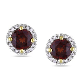 Miadora 10k Yellow Gold 1 1/5ct TGW Garnet and Diamond Accent Earrings