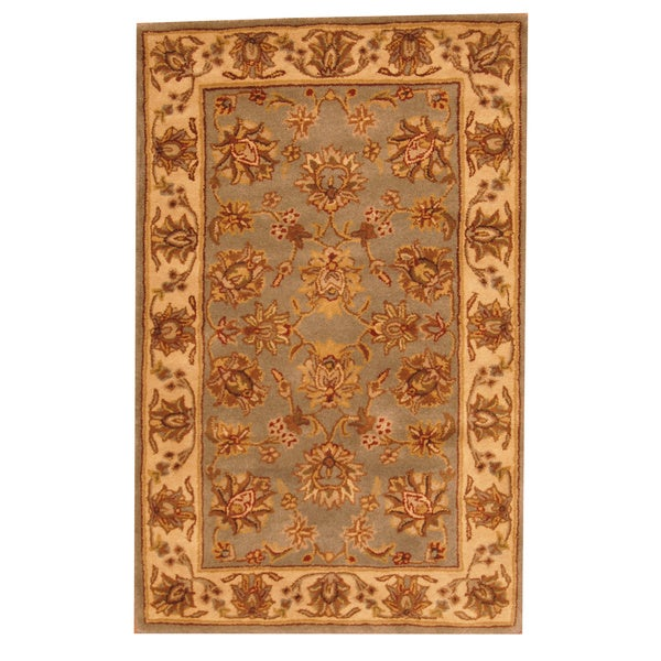 Indo Hand-tufted Mahal Floral Light Blue/ Beige Wool Rug (3'3 x 5'3)