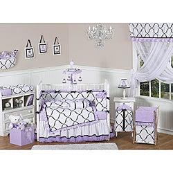 Sweet Jojo Designs Purple, Black and White Princess 9-piece Crib Bedding Set