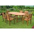 International Caravan Royal Tahiti 'Cordova' 7-piece Oval Butterfly Extension Table Outdoor Dining Set