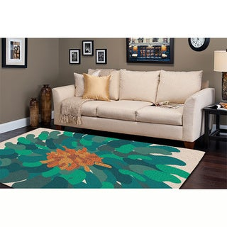 Hand-tufted Contemporary /Green Versailles New Zealand Wool Abstract Rug ( 9' x 13' )