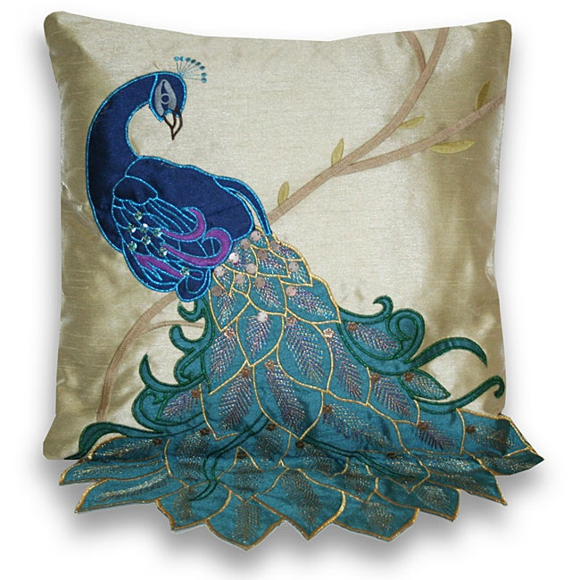 Fancy Peacock Multicolor 16-inch Faux-silk Accent Throw Pillow