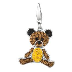 Sterling Silver Brown, Yellow and Black Crystal Teddy Bear Charm