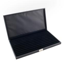 Caddy Bay Collection Lockable Black Leatherette Jewelry Ring Display Storage Case
